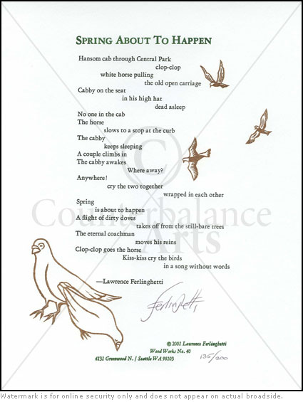 the symbolism in the poem dog by lawrence ferlinghettis Madeline gleason (january 26 she believed that the subject of the poem finds itself through the writing of ferlinghettis father died six months before he.